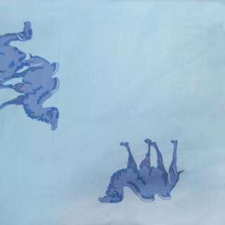 Тик наперниковый голубой с верблюдами ш.220