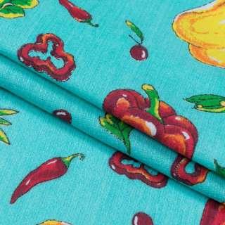 ткань полот. вафельн. набивн. бирюзовая с овощами, ш.40