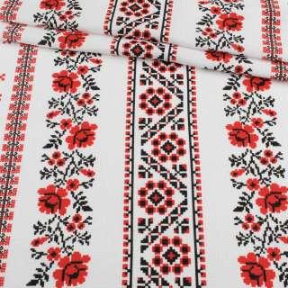 Ткань полотенечная вафельная набивная белая в красный орнамент, ш.45