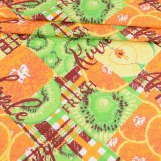 Ткань полотенечная вафельная набивная в клетку, апельсины и киви, ш.45