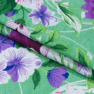 Ткань полотенечная вафельная набивная зеленая, фиолетовые цветы, ш.40