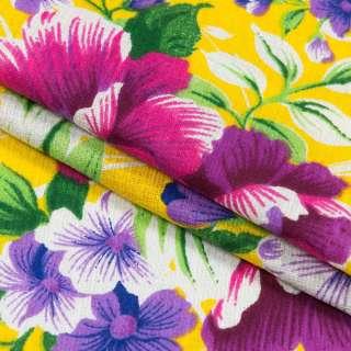 Ткань полотенечная вафельная набивная желтая, фиолетовые цветы, ш.40