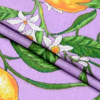 Ткань полотенечная вафельная набивная сиреневая, желтые лимоны ш.40