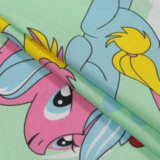 Бязь набив. салатовая, голубые, розовые пони, ш.220
