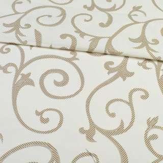 Бязь набивная молочная с коричневыми завитками, ш.220
