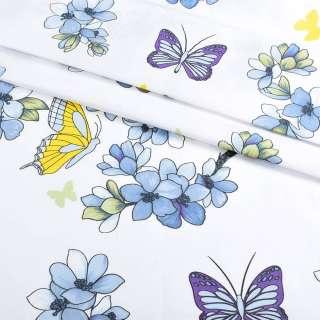 Бязь набивная белая с голубыми цветами и бабочками, ш.220