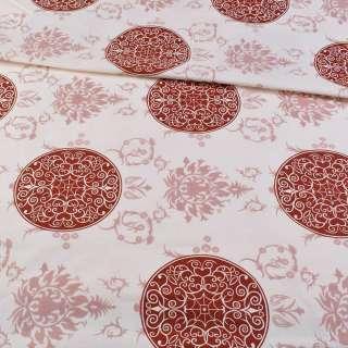 Бязь набивная кремовая с бордовыми кругами и внутренними завитками, ш.220