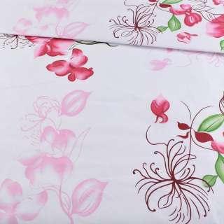 Бязь набив. белая с розово-вишневыми цветами, ш.220