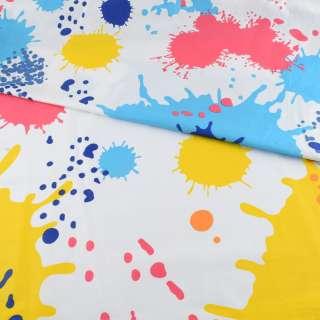 Бязь набивная белая в желто-синие + голубые кляксы и кружочки, ш.220