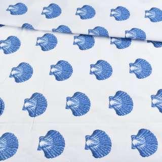 Бязь набивная белая с синими ракушками, ш.220