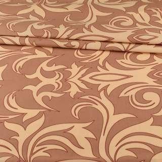 Бязь набивная коричневая с бежевыми завитками, ш.220