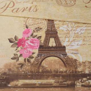 Бязь набивная бежевая Paris с розами ш.220