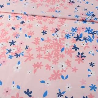 Бязь набивная розовая, синие, розовые цветы, ш.220