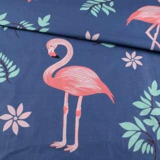 Бязь набивная синяя, розовые фламинго, зеленые листья, ш.220