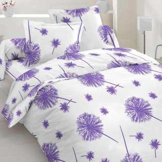 Бязь набивная белая, фиолетовые одуванчики, ш.220