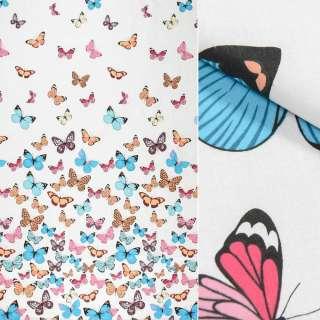 Бязь набивная белая, разноцветные бабочки, ш.220