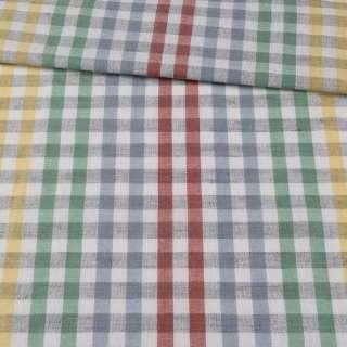 Ткань полотенечная льняная белая в цветную клетку ш.50