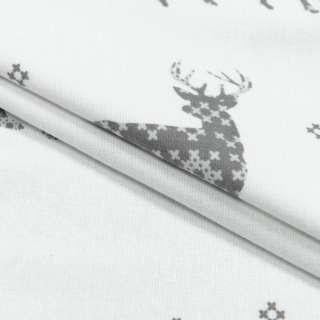 Фланель набивная белая, серые олени, орнамент, ш.220