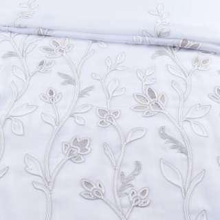 Вуаль белая с серой вышивкой и утяжелителем 1ст. купон (СТ 1700), ш.300