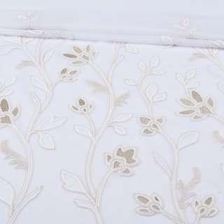 Вуаль белая с бежевой вышивкой и утяжелителем 1ст. купон (СТ 1700), ш.300