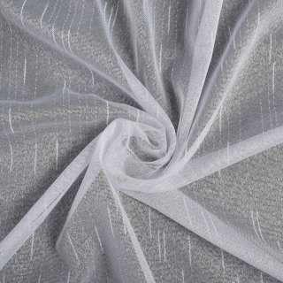 Креп гардинный черточки и штрихи длинные, белый с утяжелителем, ш.255