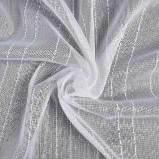 Креп гардинный в полоску с узелками, белый с утяжелителем, ш.300