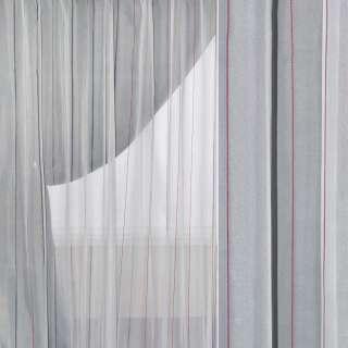 Вуаль тюль полоска бордовая, белая, ш.180