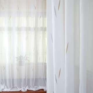Вуаль тюль жаккард листики на веточке серые, бежевые, белая с утяжелителем, ш.280