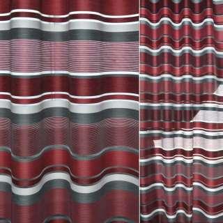 Органза лен жаккардовая тюль полосы крученая нить белая, вишневые, серая, ш.150