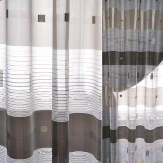 Вуаль жаккардовая белая с коричневыми полосками и квадратами Германия ш.150