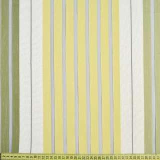 Органза серая светлая, оливковые полоски имитация шелка, ш.150