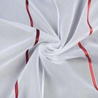 Вуаль белая в бордовую, терракотовую, серебристую полоску, с утяжелителем, ш.300