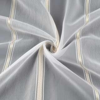 Вуаль тюль шифон полоски атласные бежевые, узкие белые, белая с утяжелителем, ш.300