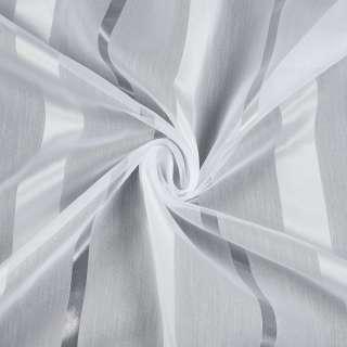 Вуаль белая в атласную бежево-белую, прозрачную полоску, с утяжелителем, ш.280