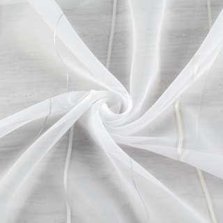 Вуаль тюль шифон полоски кремовая и серебристая, белая с утяжелителем, ш.260