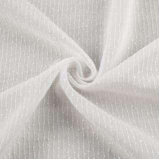 Вуаль тюль шифон полоски ниточные узелковые, белая с утяжелителем, ш.280