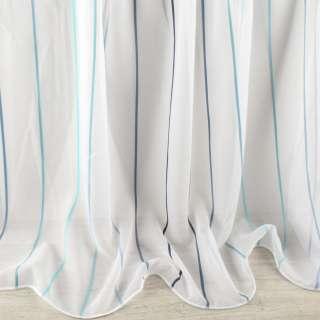 Вуаль тюль шифон полоски градиент синие, голубые, белая с утяжелителем, ш.260