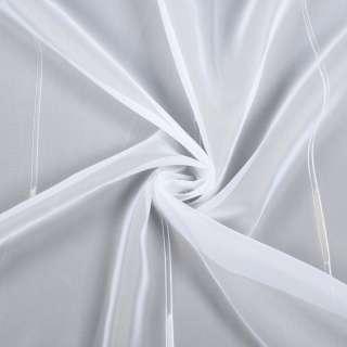 Вуаль белая в двойные ниточные полосы и бежевые штрихи, с утяжелителем, ш.260