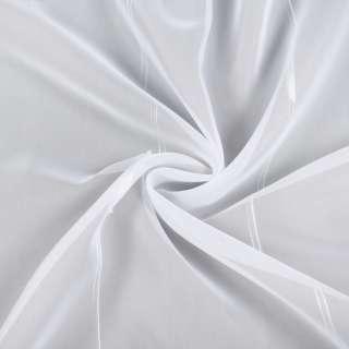 Вуаль белая в двойные ниточные полосы, белые штрихи, с утяжелителем, ш.260