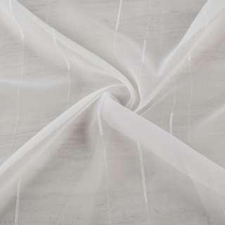 Вуаль тюль шифон полоски ниточные с ресничками, белая с утяжелителем, ш.260