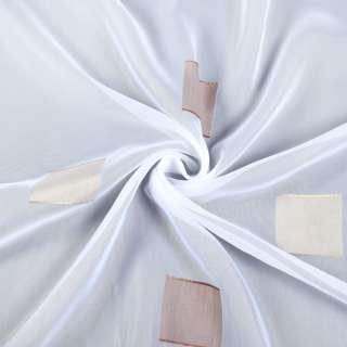 Вуаль белая в бежевые и коричневые квадраты, с утяжелителем, ш.300