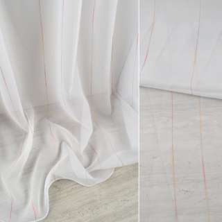 Вуаль тюль шифон полоски ниточные разноцветные, белая с утяжелителем, ш.300