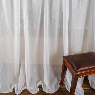 Вуаль тюль жаккард листочки блестящие, белая с утяжелителем, ш.300