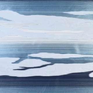 Вуаль деворе белая в белые и сине-голубые волны, ш.140