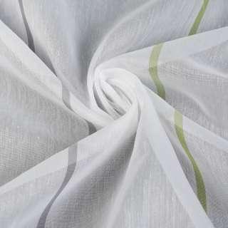 Вуаль белая в зеленые полоски, с утяжелителем, ш.300
