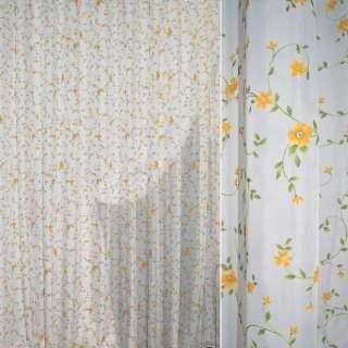 Вуаль деворе тюль вьюнок зеленый, цветы желтые, молочная, ш.280