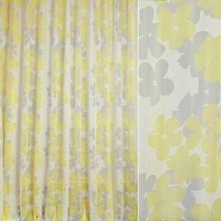 Вуаль деворе FUGGERHAUS белая в желтые, серые цветы, с утяжелителем, ш.300