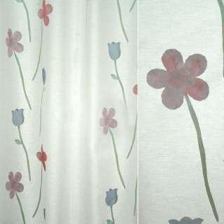 Органза деворе тюль цветы высокие красные и синие, белая, ш.140