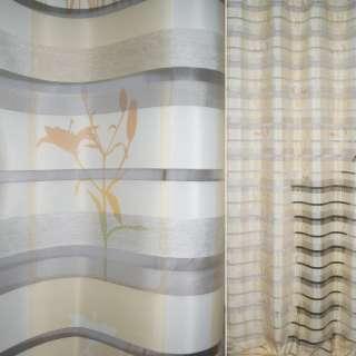 Органза деворе тюль полоски шелковые, лилии, кремово-желтая, ш.144