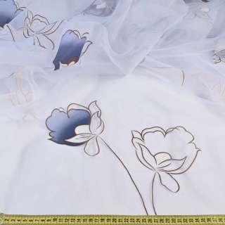 Органза белая в сине-коричневые цветы, без утяжелителя, ш.300